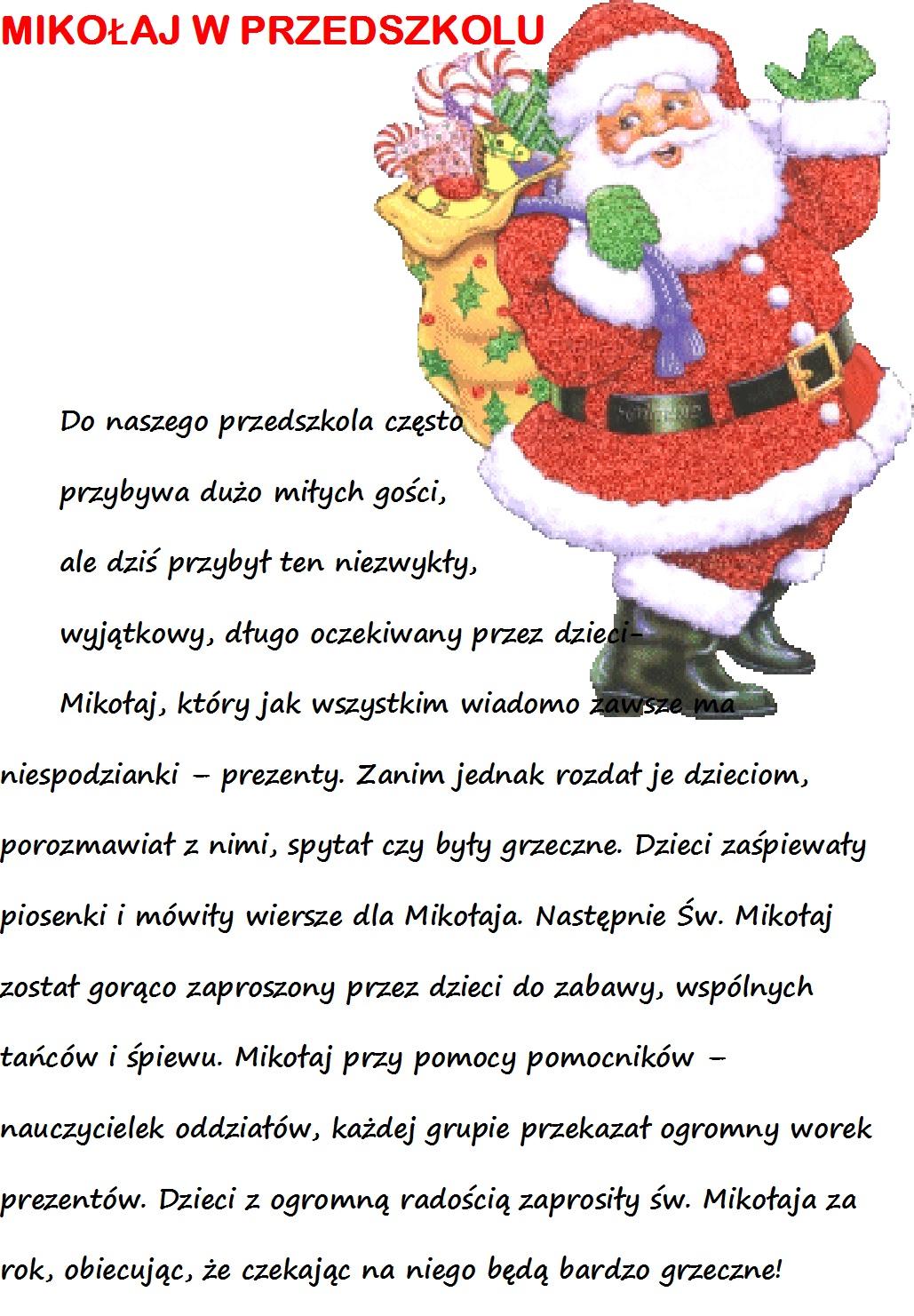 Wizyta św Mikołaja W Naszym Przedszkolu Zespół Szkół W